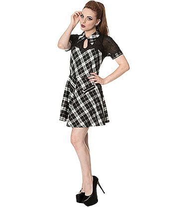 Banned Tartan Spider Dress (Black/White)