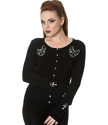 Banned Egyptian Cat Cardigan (Black)