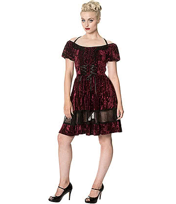 Banned Velvet Mini Dress (Burgundy)