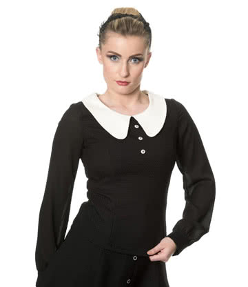 Banned 50s Style Blouse (Black/Cream)
