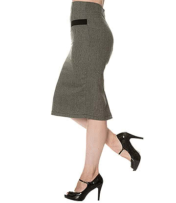 Banned Lady Luck Herringbone Pencil Skirt (Grey/Black)