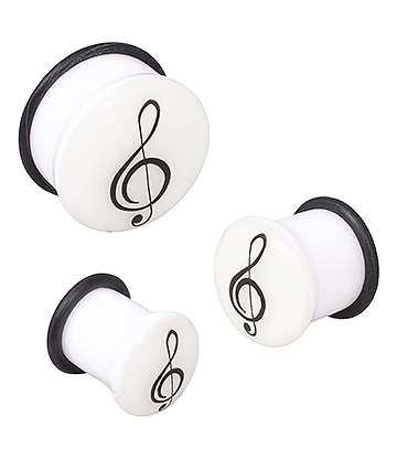 Blue Banana Acrylic Glow Clef Ear Plug 6-24mm (White)
