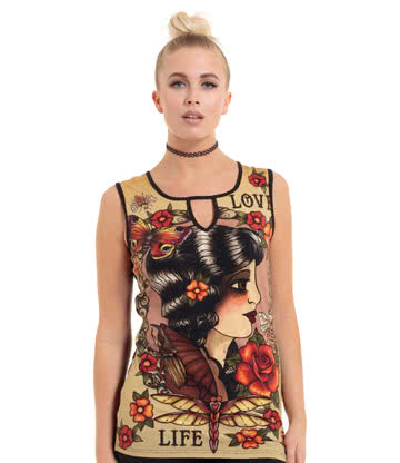 Jawbreaker Cameo Collage Tattoo Top (Beige)