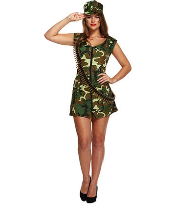 Sexy Army Girl Fancy Dress Kostüm (Camo)