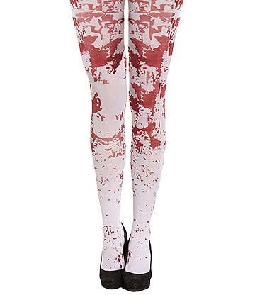 Blue Banana Blood Splatter Tights (White/Red)