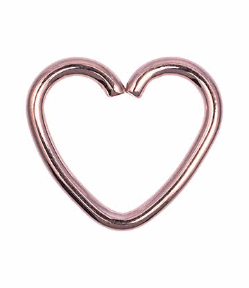 Blue Banana Rose Gold 1.2mm x 10mm Daith Heart Ring (Rotgold)