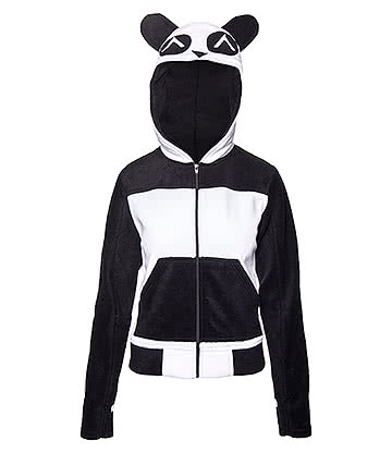 Killer Panda Fleece Split Up Hoodie (Black/White)