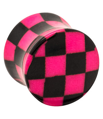 Blue Banana Acrylic Chequered Ear Plug 12mm (Black/Pink)