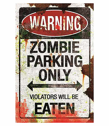 Nemesis Now Metal Zombie Parking Sign (Black/White)