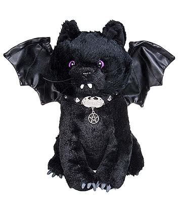 Spiral Direct Bat Cat Plush Toy (Black)
