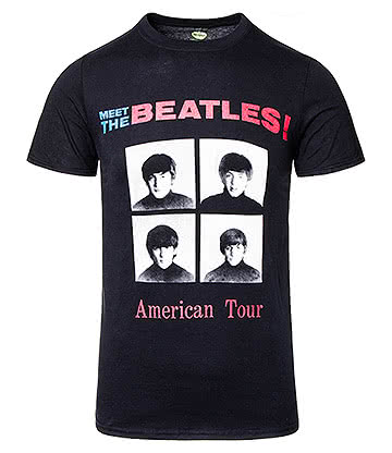 Official The Beatles '64 US Tour T Shirt (Black)
