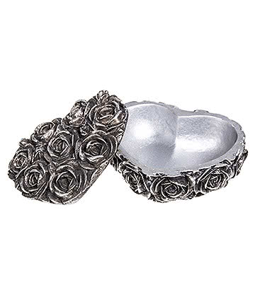 Alchemy Gothic Rose Heart Box (Silver)