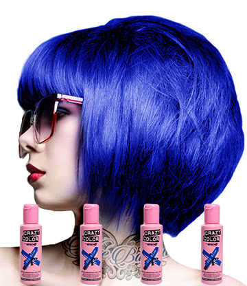 Crazy Color Semi-Permanent Hair Dye 4 Pack 100ml (Sky Blue)