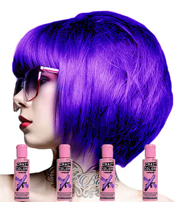 Crazy Color Semi-Permanent Hair Dye 4 Pack 100ml (Violette)
