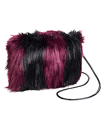 Blue Banana Faux Fur Small Clutch Bag (Purple/Black)