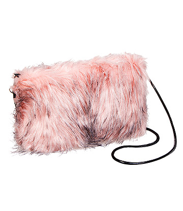 Blue Banana Faux Fur Clutch Bag (Baby Pink/Black)