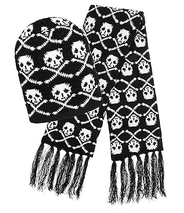 Blue Banana Skull Crossbones Hat & Scarf (Black/White)