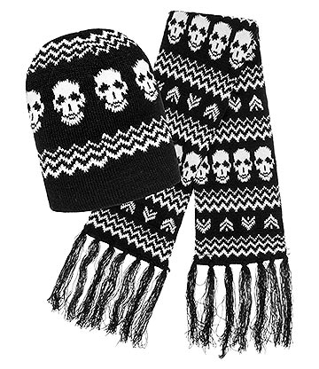 Blue Banana Skull Hat & Scarf (Black/White)