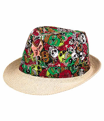 Blue Banana Skulls Straw Trilby Hat (Red)