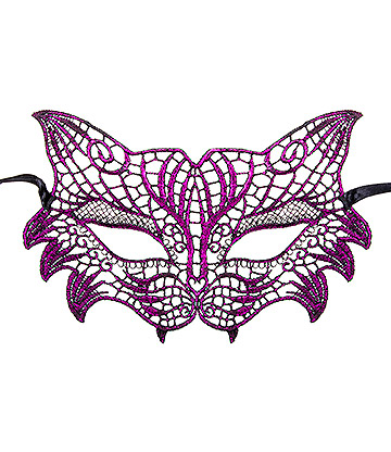 Blue Banana Cat Masquerade Mask (Purple)