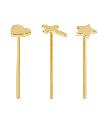 Blue Banana Silver 0.5mm Pack of 3 Nose Studs (Gold)