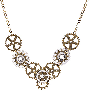 Blue Banana Row Of Cogs Necklace (Gold/Silver)