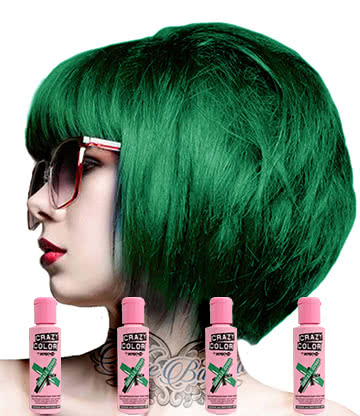 Crazy Color Semi-Permanent Hair Dye 4 Pack 100ml (Emerald Green)