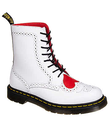 Dr Martens Bentley 2 Heart Boots (White/Red)