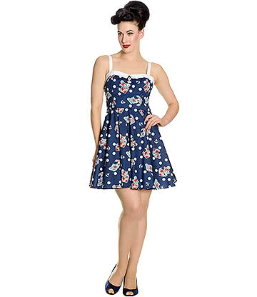 Hell Bunny Oceania Mini Dress (Navy)