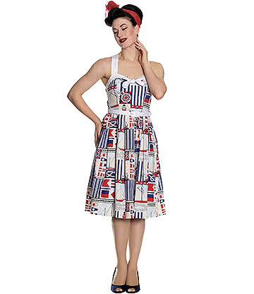 Hell Bunny Lighthouse 50s Dress (Cream/Blue)