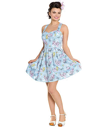 Hell Bunny Andrina Mini Dress (Blue)