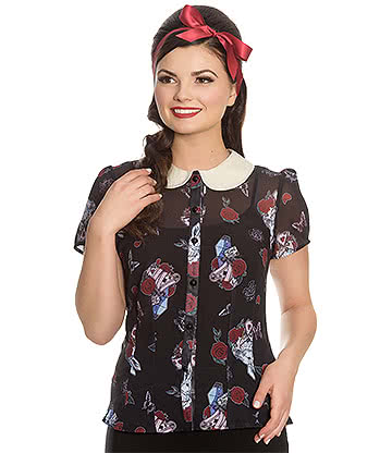 Hell Bunny Drink Me Blouse (Black)