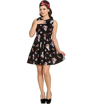 Hell Bunny Drink Me Mini Dress (Black)