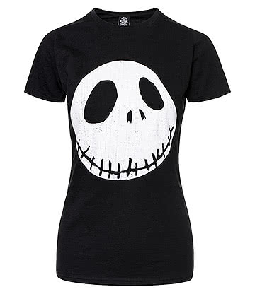 Nightmare Before Christmas Cracked Face Skinny T Shirt (Black)