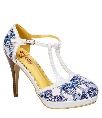 Banned All I Do Is Dream High Heeled Shoes (White/Blue)