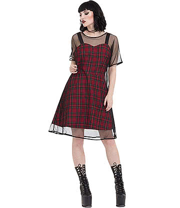 Jawbreaker Tartan Mesh Dress (Red)