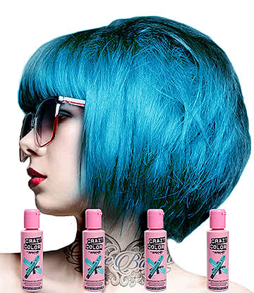 Crazy Color Semi-Permanent Hair Dye 4 Pack 100ml (Bubblegum Blue)