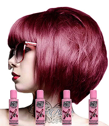 Crazy Color Semi-Permanent Hair Dye 4 Pack 100ml (Cyclamen)