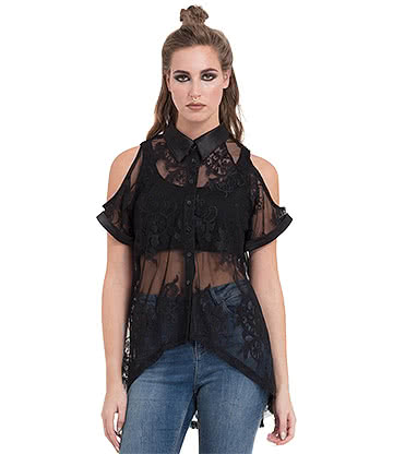 Jawbreaker Sheer Lace Shirt (Black)