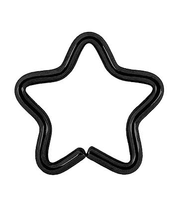 Blue Banana Body Piercing Chirurgenstahl 1.2 x 10mm Daith Star Ring (Schwarz)