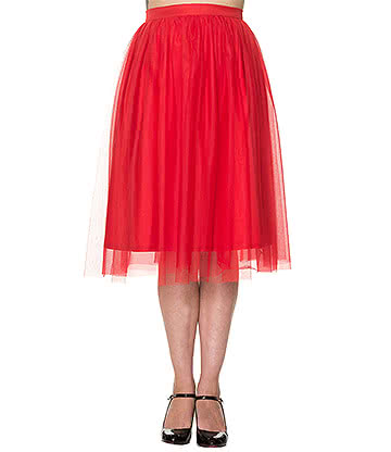 Banned Freefall Netted Skirt (Red)