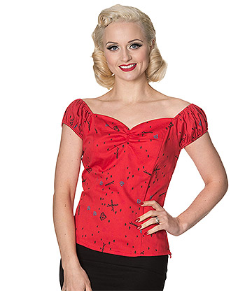 Banned Meadows Off The Shoulder Top (Red)
