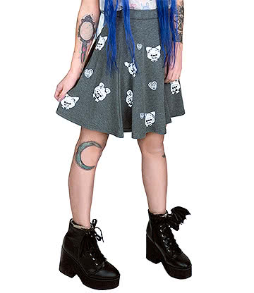 Fearless Illustration Misty Skater Skirt (Grey)