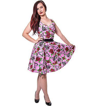 Rockabella Flamingo Hearts Dress (Pink)