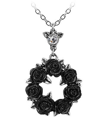 Alchemy Gothic Ring O' Roses Pendant Necklace (Silver/Black)