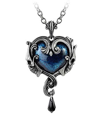 Alchemy Gothic Midnight Love Pendant Necklace (Blue/Silver)