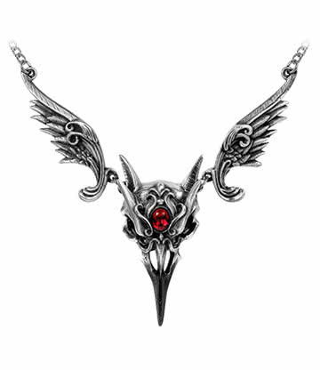 Alchemy Gothic Masque of the Black Rose Necklace (Silver/Red)