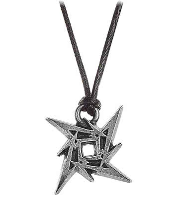Alchemy Rocks Metallica Ninja Star Pendant Necklace (Black/Silver)