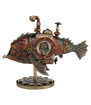Nemesis Now Piranha Submarine Sculpture Nautique Steampunk - Ornement (Bronze)