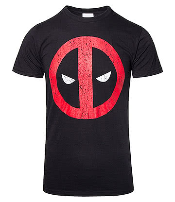 Marvel Deadpool Cracked Logo T Shirt (Black)